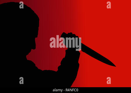 shadow man with knife on red background - Stock Photo