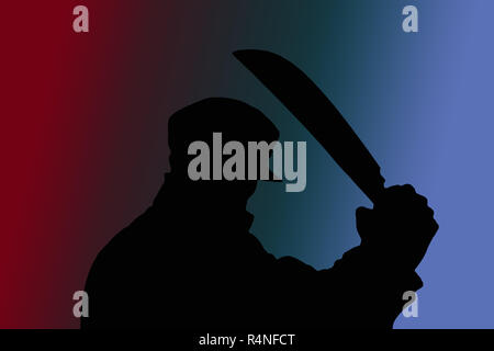 shadow man with machete on gradient background - Stock Photo
