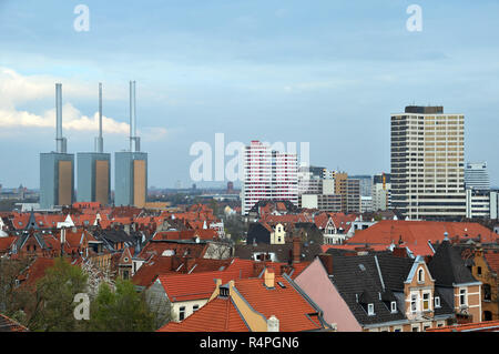view over hannover-linden with cogeneration plant - Stock Photo