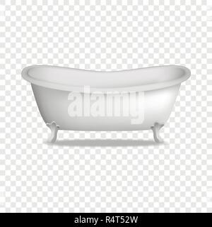 Bathtub mockup. Realistic illustration of bathtub vector mockup for on transparent background - Stock Photo