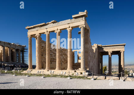 Athens. Greece. The Erechtheion (Erechtheum) ancient Greek temple on the north side of the Acropolis was dedicated to Athena and Poseidon, the temple  - Stock Photo