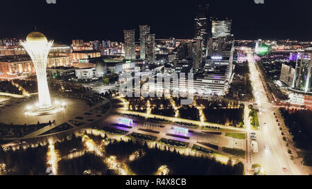 the city of Almaty, Kazakhstan. Aerial night. - Stock Photo