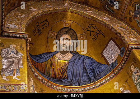 Christ Pantocrator mosaic in the apse of Monreale Cathedral, Sicily, Italy - Stock Photo
