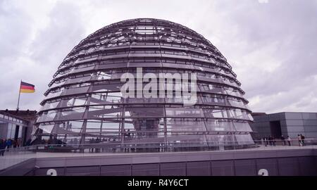The glass cupola/dome above the Reichstag parliament building in Berlin, Germany - Stock Photo