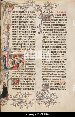 Temporale. First Sunday after Epiphany. Text with initial 'I', Christ teaching in the Temple; outside, Mary and Joseph. Marginal decoration includes an angel; and in lower margin, an abbot with a crozier, kneeling. Sherborne Missal. Sherborne, co. Dorset; circa 1399-1407. Source: Add. 74236, p.55. Language: Latin. Author: JOHN SIFERWAS. Whas, John. - Stock Photo
