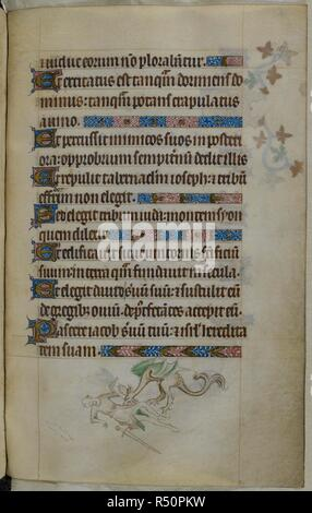 Bas-de-page scene of a man, with a sword and shield, being attacked by a dragon. Psalter ('The Queen Mary Psalter'). England (London/Westminster or East Anglia?); between 1310 and 1320. Source: Royal 2 B. VII, f.187. Language: Latin, with French image captions. - Stock Photo