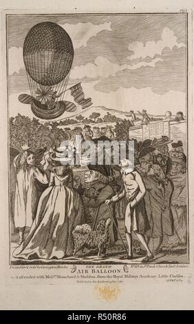 The grand air balloon. Jean-Pierre Blanchard and John Sheldon ascending in a balloon on the 16 October, 1784. A collection of broadsides, cuttings from newspape. 1780?-1810?. The grand air balloon as it ascended with Messrs. Blanchard & John Sheldon, from the Royal Military Academy, Little Chelsea, 16 Oct. 1784. Jean Pierre François Blanchard (1753-1809), a French balloonist, inventor of the parachute, was killed at La Haye using one. He was the first man, with John Jeffries, an American, to cross the English Channel by balloon, from Dover to Calais in 1785. Image taken from A collection of b - Stock Photo