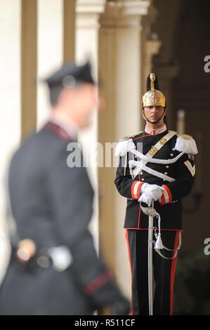 Member of Reggimento Corazzieri (Cuirassiers' Regiment) part of Arma dei Carabinieri (Carabinieri Force) Guard of Honor of the President of the Italia - Stock Photo