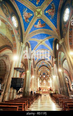 Gothic Basilica di Santa Maria sopra Minerva (Basilica of Saint Mary above Minerva) from XIV century on Piazza della Minerva in Historic Centre of Rom - Stock Photo