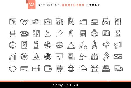 Set of 50 business icons, thin line style - Stock Photo