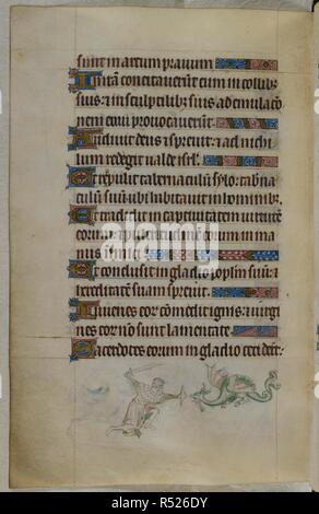 Bas-de-page scene of a man, with a sword and shield, fighting a dragon. Psalter ('The Queen Mary Psalter'). England (London/Westminster or East Anglia?); between 1310 and 1320. Source: Royal 2 B. VII, f.186v. Language: Latin, with French image captions. - Stock Photo