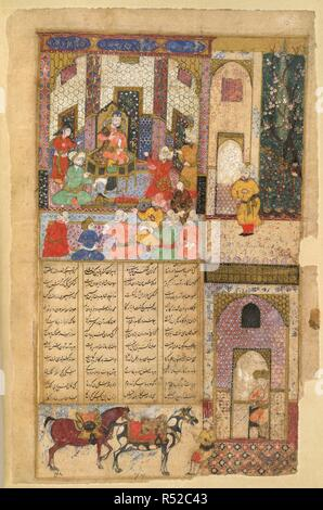Kawa the blacksmith. Shahnama of Firdawsi, with 39 miniatures. Opaque w. 1614. Kawa the blacksmith before Zahhak. The main miniature, in the upper part of the page, is continued in the outer and lower margins. Typical court scene with fenced garden: gateway and two saddled horses with groom below. Rubbed and damaged by damp. 35 by 21cm.  Image taken from Shahnama of Firdawsi, with 39 miniatures. Opaque watercolour. Safavid/Isfahan style.  Originally published/produced in 1614 . Source: I.O. ISLAMIC 3265, f.15v. Language: Persian. - Stock Photo