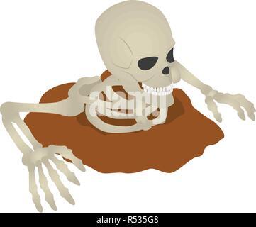 Skeleton ground icon. Isometric of skeleton ground vector icon for web design isolated on white background - Stock Photo