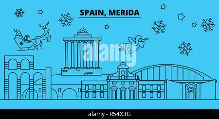 Spain, Merida winter holidays skyline. Merry Christmas, Happy New Year decorated banner with Santa Claus.Spain, Merida linear christmas city vector flat illustration - Stock Photo