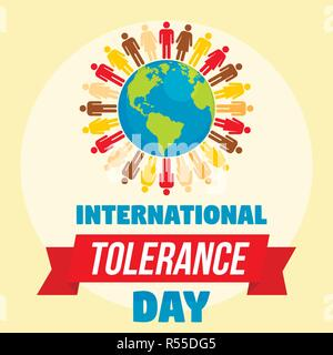 International tolerance day concept background. Flat illustration of international tolerance day vector concept background for web design - Stock Photo