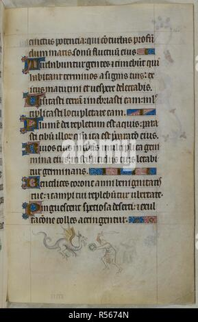 Bas-de-page scene of a man with a sword and a small round shield fighting a dragon. Psalter ('The Queen Mary Psalter'). England (London/Westminster or East Anglia?); between 1310 and 1320. Source: Royal 2 B. VII, f.163. Language: Latin, with French image captions. - Stock Photo