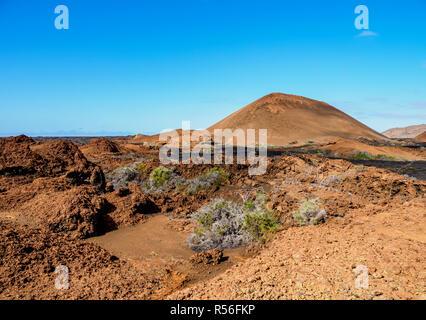 Volcanic Landscape of Sullivan Bay, Santiago or James Island, Galapagos, Ecuador - Stock Photo