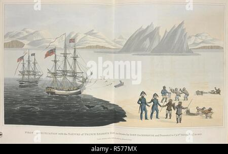 First communication with the natives of Prince Regents Bay, as drawn by John Sackheouse and presented to Capt. Ross. Aug.10. 1818. Voyage of Discovery, made under the orders of the Admiralty, in his Majesty's ships Isabella and Alexander for the purpose of exploring Baffin's Bay, and enquiring into the possibility of a North-West Passage. London : cxlix. J. Murray, 1819. Source: G.7399 plate between pages 88-89. - Stock Photo