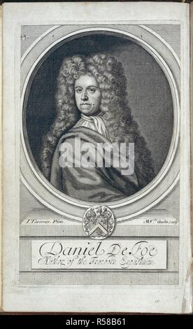 Daniel Defoe. [A True Collection of the Writings of the Author o. London & Westminster, 1705. Daniel Defoe (1660-1731). English writer and adventurer. Portrait.  Image taken from [A True Collection of the Writings of the Author of the True Born English-man (i.e. D. Defoe). Corrected by himself.].  Originally published/produced in London & Westminster, 1705. . Source: G.13274, frontispiece. Language: English. - Stock Photo