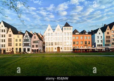 Houses and park in Cologne, Germany. Many of them are colourful, they are facing a public park with green grass and some trees. There is a Cologne bel - Stock Photo