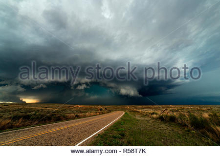 Supercell with an intense hailcore near Alanreed, Gray County, Texas, USA on June 16th 2015 - Stock Photo