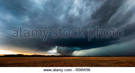 The early stage of the cone tornado (before it became rain-wrapped and wedge), Tescott, Kansas, Ottawa County, USA on May 1st 2018 - Stock Photo