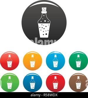 Potion icons set 9 color vector isolated on white for any design - Stock Photo