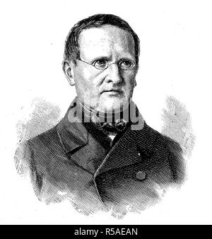 Otto Theodor Freiherr von Manteuffel, 3 February 1805, 26 November 1882, Prussian politician, Prussian Prime Minister, woodcut - Stock Photo