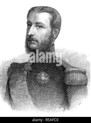 Leopold II, actually Leopold Ludwig Philipp Maria Viktor, April 9, 1835, December 17, 1909, King of the Belgians, woodcut - Stock Photo