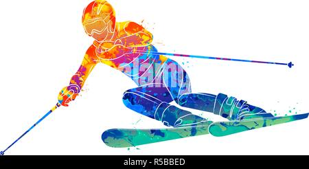 Abstract skiing. Descent giant slalom skier from splash of watercolors. Winter sports - Stock Photo