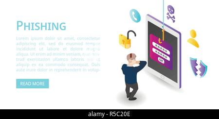 Login password phishing banner. Isometric illustration of login password phishing vector banner for web design - Stock Photo