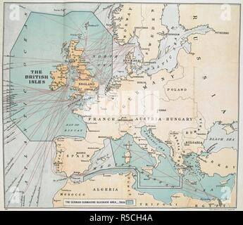 A chart of the First World war showing the German submarine blockade area. The German submarine blockade area. London : Hodder & Stoughton, 1917. Source: 09083.c.12 fold-out. - Stock Photo