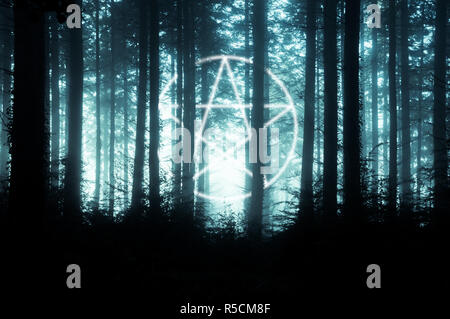 A pentagram symbol over layered on top of a spooky forest of trees on a foggy winters day. With a cold, muted edit. - Stock Photo