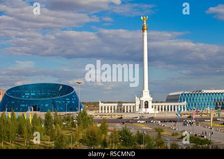 Kazakhstan, Astana, KazakYeli monument (Kazakh Country), Shabyt Palace of Arts and the Palace of Independence - Stock Photo