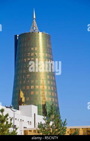 Kazakhstan, Astana, Twin golden-green, conical business centre - Stock Photo