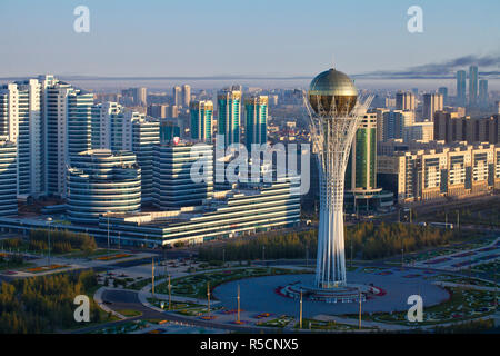 Kazakhstan, Astana, View of City Center looking towards the Bayterek Tower - Stock Photo
