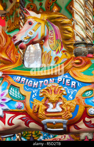 England, East Sussex, Brighton, Brighton Pier, Carousel Horse - Stock Photo