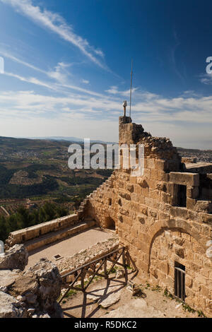 Jordan, Ajloun, Ajloun Castle, Qala-at Ar-Rabad, built 1188, exterior - Stock Photo