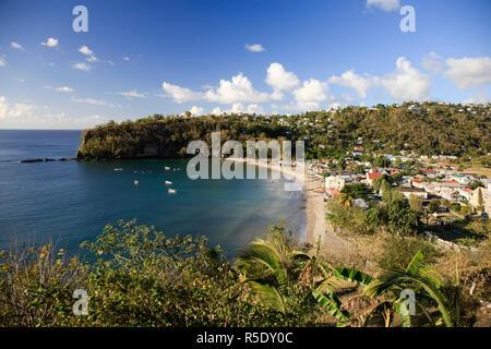 Caribbean, St Lucia, Anse La Raye Village and Beach - Stock Photo