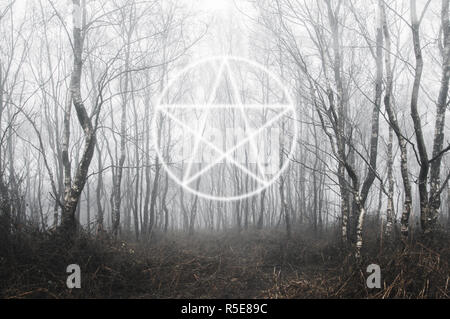 A pentagram symbol over layered on top of a spooky forest of birch trees on a foggy winters day. With a cold, muted edit. - Stock Photo