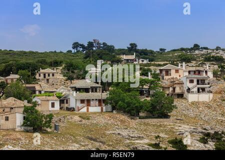 Traditional houses in Kastro village, Greece - Stock Photo