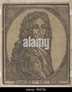 Daniel Defoe (c. 1660 – 24 April 1731). English trader, writer, journalist, pamphleteer and spy. [Jure Divino: a satyr. In twelve books. By the author of The True-Born-Englishman. [The preface signed: D. F., i.e. D. Defoe. With a portrait.]]. London, [c. 1710]. Source: 11632.de.10. - Stock Photo