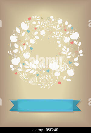 Graceful Greeting Card. Ring of flowers and hearts - Stock Photo