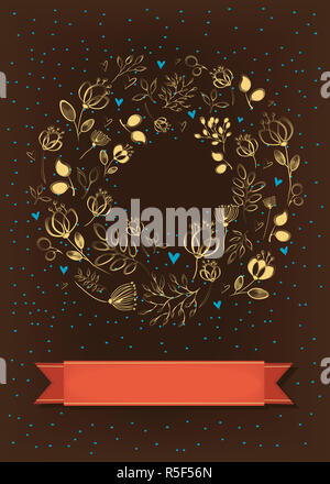 Graceful Brown Card. Ring of flowers and hearts - Stock Photo