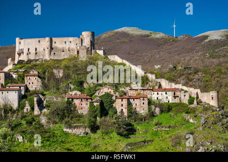 Medieval castle over town of Brienza, Lucanian Apennines, Basilicata, Italy - Stock Photo