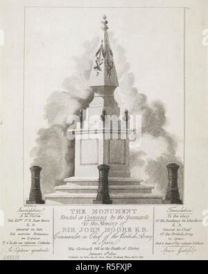 A pyramid decorated with military regalia and flaming spheres on a square plinth with three steps enclosed by three cannon-shaped poles, with its inscription transcribed and translated below . THE MONUMENT Erected at Corunna by the Spaniards To the Memory of SIR JOHN MOORE K.B. : Commander in Chief of the British Army in Spain. Who gloriously fell at the Battle of Elvina. [London] : Published by John Booth, Duke Street, Portland Place, January 6 1810. Source: Maps K.Top.73.48.1. Language: English. - Stock Photo
