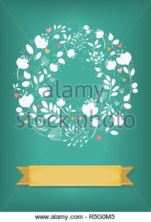 Graceful Greeting Card. Ring of white flowers - Stock Photo