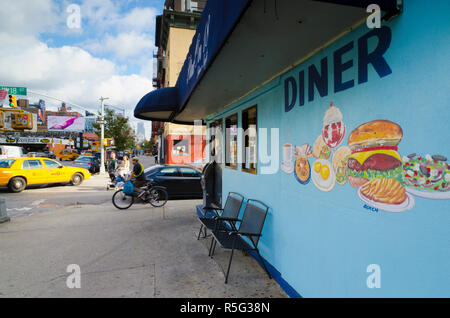 USa, New York, Manhattan, Midtown, Chelsea, 10th Avenue, Star on 18 Diner - Stock Photo