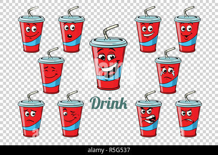 drink Cola tube emotions characters collection set - Stock Photo