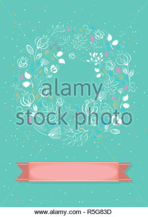 Graceful Floral Card. Ring of white flowers - Stock Photo